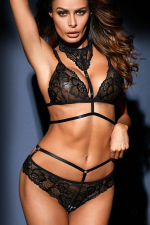 Black Lace Choker Bralette Set