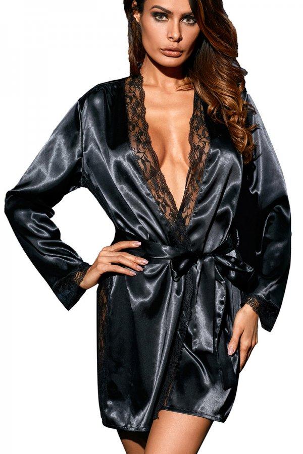 Classic Black Lace Trim Satin Robe