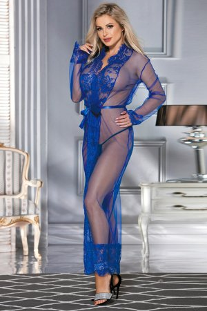 Long Sleepwear Blue Delicate Lace Gown