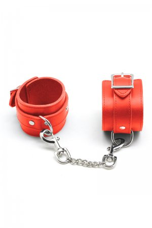 Red Leather Handcuffs