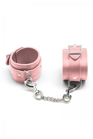 Baby Pink Leather Handcuffs