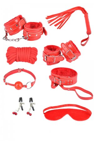Bondage Toys Set - 8 Piece Red
