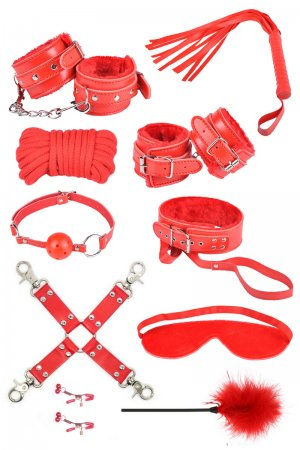 Bondage Fetish Kit - Red 10pc