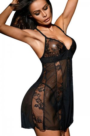 Black Sheer Stretch Lace and Net Open Back Babydoll