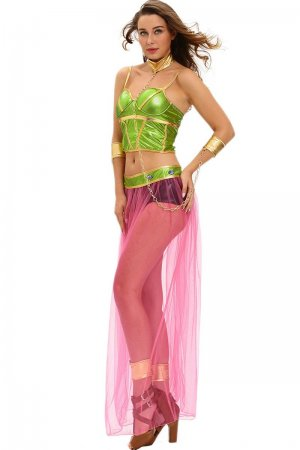 Green Pink 6pcs Slave Princess Costume
