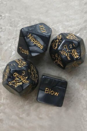 New Black 12 Sides Love Sex Game Dice - 4pcs/set