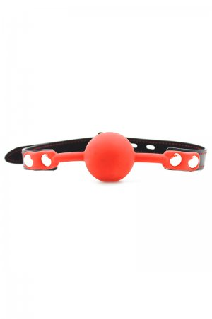 Silicone Ball Gag with Lock - Red