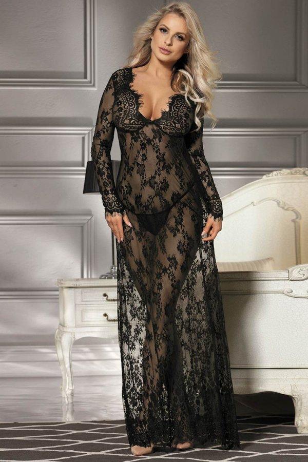 Black Long Sleeve Transparent Sleepwear Gown