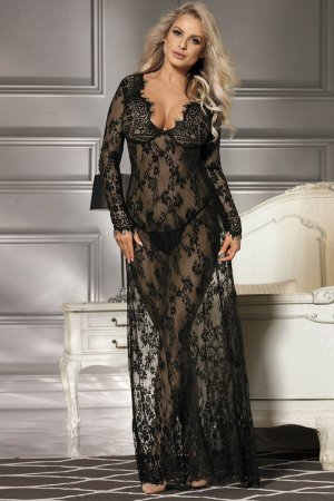 Black Long Sleeve Transparent Sleepwear Gown