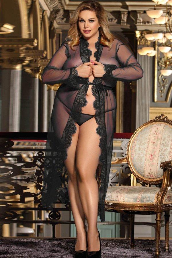 Black Transparent Long Sleepwear - Plus Size