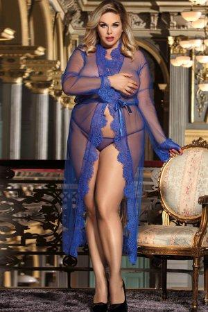 Blue Transparent Lace Gown - Plus Size