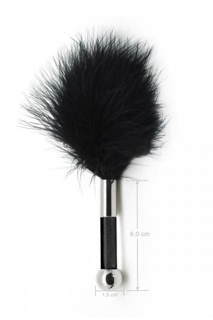 Feather Tickler with Glass Dildo Handle - Black