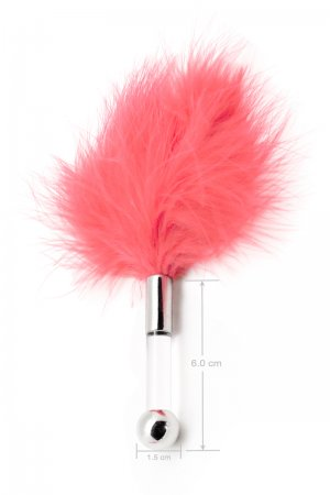 Feather Tickler with Glass Dildo Handle - Baby Pink