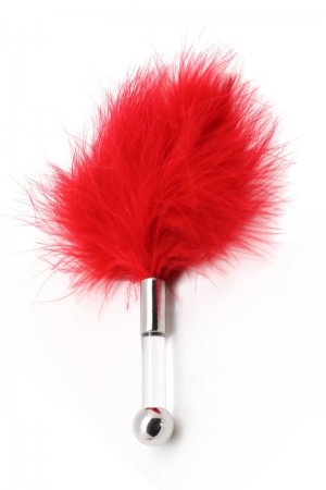Feather Tickler with Glass Dildo Handle - Red
