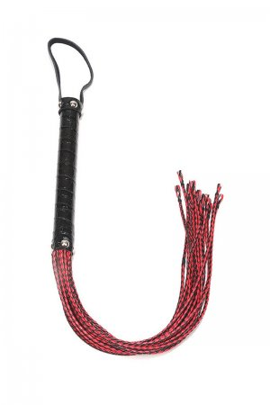 Knitted Leather Whip - Red & Black