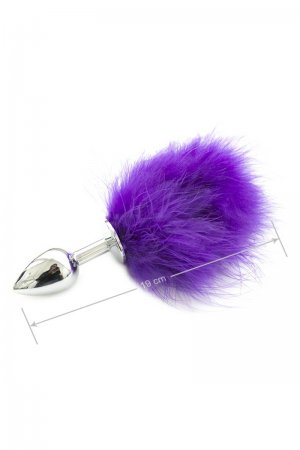 Metal Butt Plug with Purple Feather