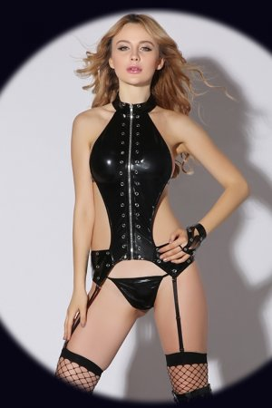 Wet Look Erotic Leather Lingerie - Full Set