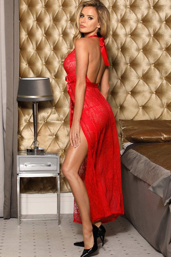 Red Backless Halter Long Dress