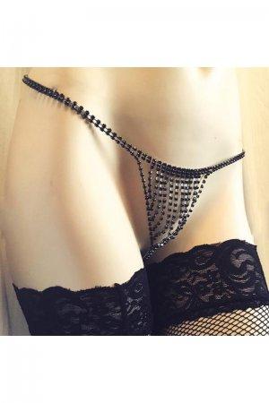 Sexy Rhinestone Jewelry Underwear - Black