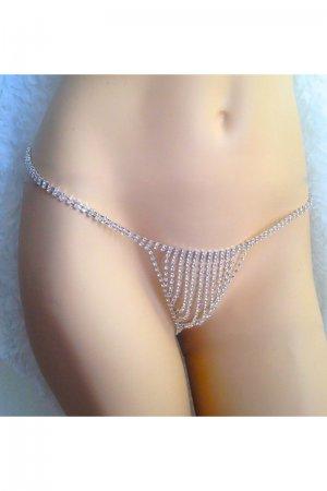 Sexy Rhinestone Jewelry Underwear - Silver
