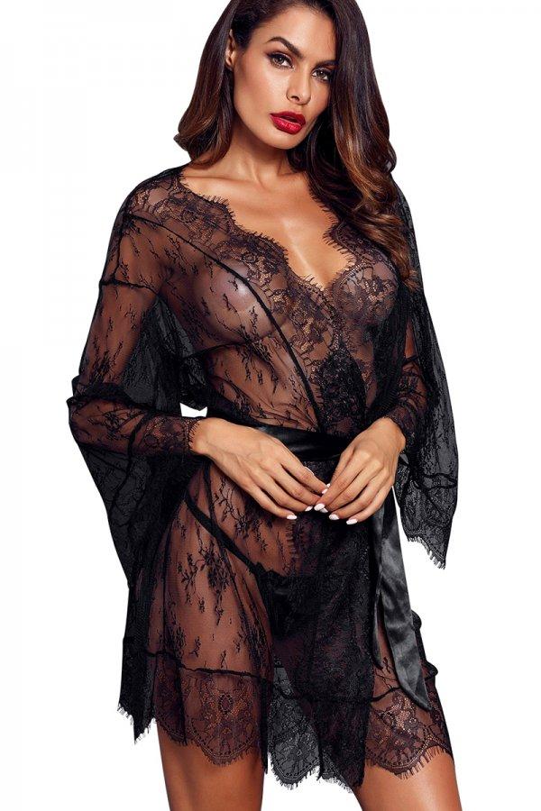 Black Long-sleeved Lace Kimono Robe with Belt