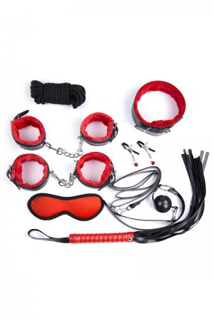 Intermediate 8 Piece Bondage Kit - Red and Black