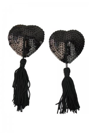 Sequin Nipple Cover with Tassel - Black