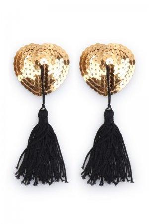 Sequin Heartshape Pasties with Tassel - Golden