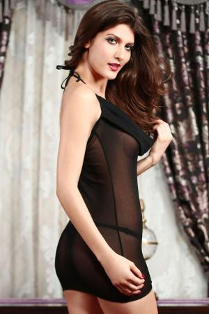 Plunging Cowl Chemise Black