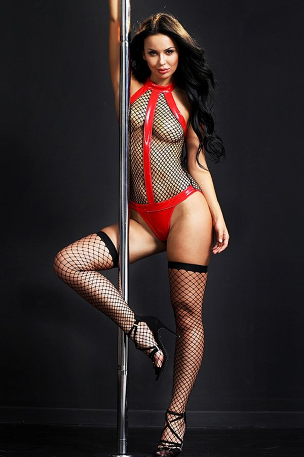 Provocative Black Fishnet Teddy with Stockings