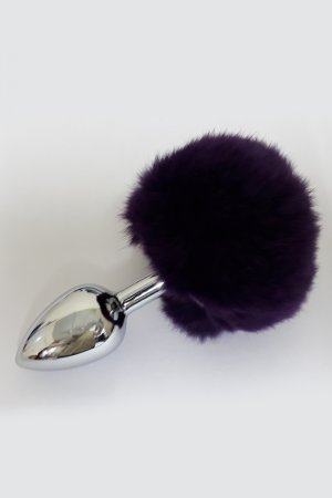Metal Butt Plug with Dark Violet Feather