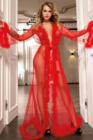 Red Transparent Robe with Fur Trim