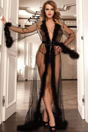 Long Sheer Robe with Fur Trim - Black
