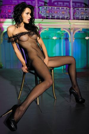 Off Shoulder Fishnet Bodystocking
