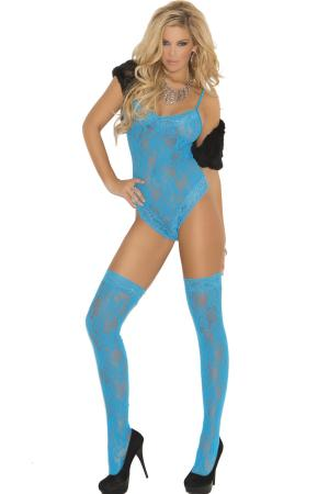 Turquoise Teddy with Thigh hi's