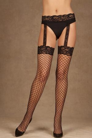 Diamond net thigh hi with lace top and attached lace garter belt