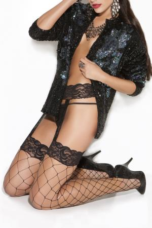 Garter Belt & Lace Top Diamond Net Thigh Hi
