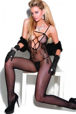 Black Fishnet Bodystocking with scroll design