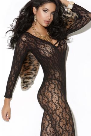 Long sleeve lace bodystocking