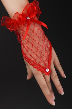 Red Fingerless Short Gloves