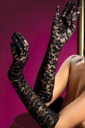 Sexy stretch elbow length lace gloves