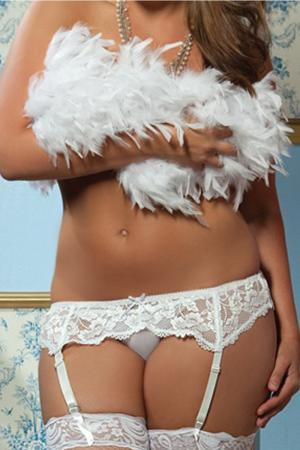Lace Affair Garter Belt White Plus
