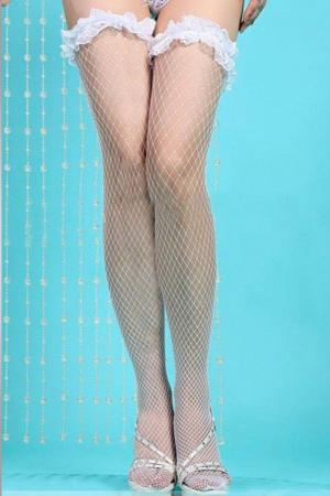 White Lace Fishnet Stocking