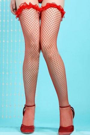 Red Lace Fishnet Stocking