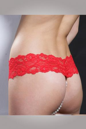 Red Crotchless G String with Pearls
