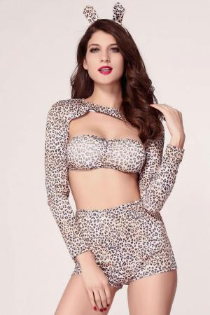 4PC Exclusive Pin-up Sexy Cheetah Halloween Costume