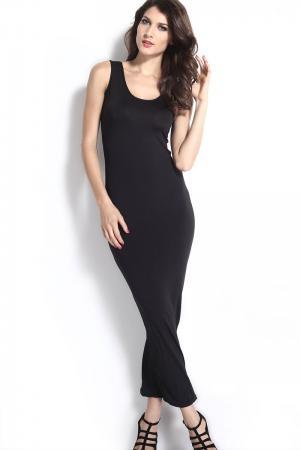 Scoop Neck Sleeveless Black Maxi Dress