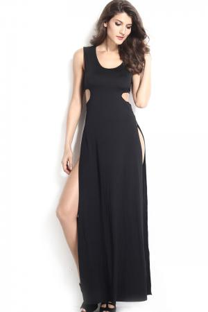 Black High Side Slits Cutout Maxi Dress