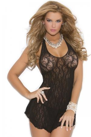 Black Lace Halter Nighty Dress - Plus Size