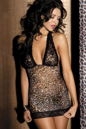 Sexy animal print chemise with lace cup